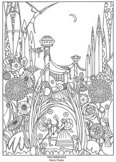 Welcome to Dover Publications  Color Your Own Great Fairy Tale Illustrations Thumbelina by Harry Clarke