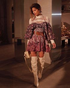 Rocky Barnes rocking the cream lace mixed with a floral patterned dress and white boots. for more fashion inspo Boho Fashion, Fashion Looks, Fashion Outfits, Womens Fashion, Classic Outfits, Cute Outfits, Stylish Outfits, Girl Outfits, Pretty Outfits