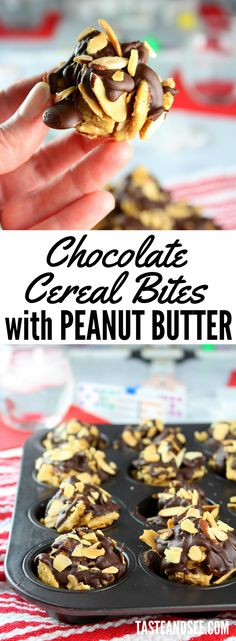 Chocolate Cereal Bites with Peanut Butter = the winning recipe. Chocolate Cereal Bites with Peanut Butter = the winning recipe for an after-school snack or a fun family game night! via Taste And See Chocolate Cereal, Semi Sweet Chocolate Chips, Healthy Chocolate, Chocolate Desserts, Chocolate Heaven, Chocolate Lovers, Healthy Dessert Recipes, No Bake Desserts, Easy Desserts