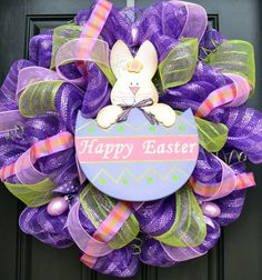 Purple Easter Mesh Wreath by CreationsbySaraJane on Etsy