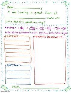 Printable download great way to encourage writing with a simple print several of these and pack stamps and envelopes for the girls to send letters to grandparents and to themselves spiritdancerdesigns Choice Image