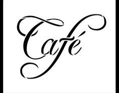 Cafe Word Art Stencil-Swish Script  6 X 5  por StudioR12 en Etsy