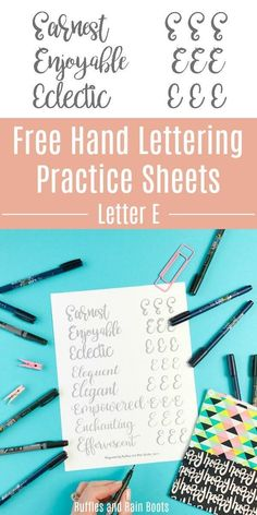 These free uppercase letter E hand lettering practice sheets will help you work on your brush lettering, bounce lettering, and modern calligraphy styles. Hand Lettering For Beginners, Hand Lettering Practice, Calligraphy Practice, Calligraphy Letters, Calligraphy Tutorial, Hand Lettering Tutorial, Lettering Styles, Brush Lettering, Lettering Ideas