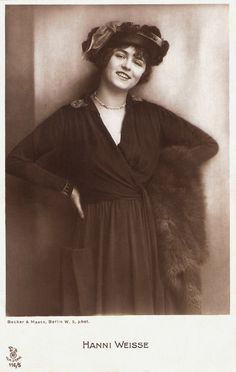 https://flic.kr/p/TFpESs | Hanni Weisse | German postcard in the Film Sterne series by Rotophot, no. 116/5. Photo: Becker & Maass, Berlin.   German actress Hanni Weisse (1892-1967) belonged to the great film divas of the early German silent film. She was able to maintain her stardom till the 1920s.   For more postcards, a bio and clips check out our blog European Film Star Postcards Already over 4 million views! Or follow us at Tumblr or Pinterest.