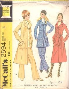 1970s McCalls 2594 Misses Princess Seam Coat Jacket and Flared Pants Pattern Womens Vintage Sewing Pattern Size 12 Bust 34 UNCUT