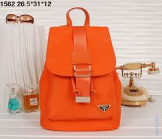 Оригинальный женский тканевый рюкзак оранжевого цвета Prada