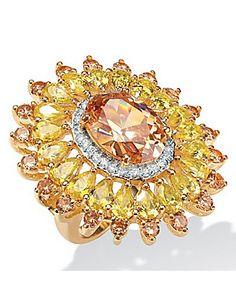 Champagne/Yellow/Whitecubic zirconia Ring by Palm Beach Jewelry