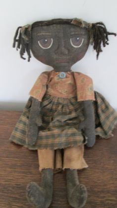 Prim Black Doll with Big Eyes by Bettesbabies on Etsy, $38.00
