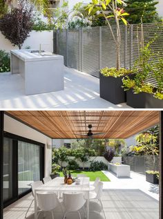 Modern outdoor kitchens don't have to be anything too fancy. A simple work area, cooktop and a place to sit and enjoy a meal are really the only things you need to create a functional outdoor kitchen.