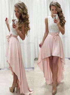 Modest homecoming dresses high low,two piece homecoming dresses blush,simple homecoming dresses – Madie U. Modest homecoming dresses high low,two piece. Dresses Elegant, Unique Prom Dresses, Pink Prom Dresses, A Line Prom Dresses, Lace Evening Dresses, Event Dresses, Dresses For Teens, Trendy Dresses, Dress Prom