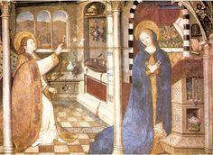 1451.Annunciazione.Santa Maria di Castello Genova.Jos Amann (Giusto d'Alemagna), a 15th century German painter from Ravensburg.