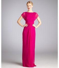 Badgley Mischka Fuchsia Silk Chiffon Cap Sleeve Evening Gown in Pink (fuchsia)