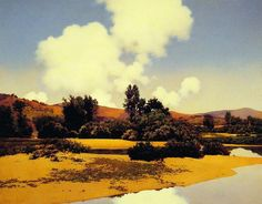 Little Sugar River At Noon (1922-24)  Maxfield Parrish    if you haven't seen a Maxfield Parrish in person yet, your in for a treat. The colors...oh the colors!