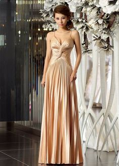 gorgeous sleeveless v-neck satin dress with pleats and beading
