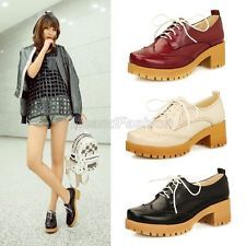 Womens Retro Lace Up Platform Chunky Mid Heel Brogue Oxford Shoes Plus Size 1505