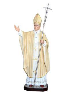 S. Giovanni Paolo II cm. 155 altezza cm. 155 in vetroresina dipinto con colori acrilici e finiture ad olio disponibile anche con occhi di vetro  http://www.ovunqueproteggimi.com/collezione-statue/santi/giovanni-paolo-ii/