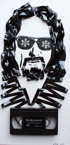 The Big Lebowski portrait made using video tape