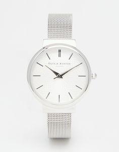 Olivia+Burton+Hackney+Midi+Dial+Silver+Mesh+Watch