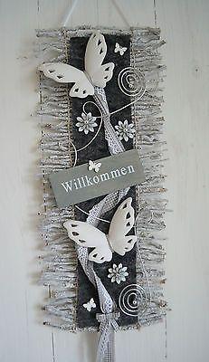 Türkranz  Türschmuck Türdeko  Rebenmatte grau/weiß, Willkommen Schmetterling