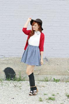Dress: c/o Choies;  Sweater: Target;  Knee Socks: Target;  Shoes: c/o ShoeMint;  Hat: ChicWish