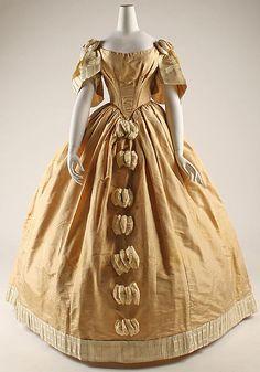 Circa 1855 silk dress, American