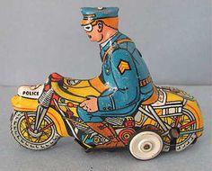 Vintage Marx USA Tin Motorcycle Cop Windup Toy