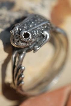 Vintage 925 Sterling Silver Wrap Around Frog Ring size 9.5