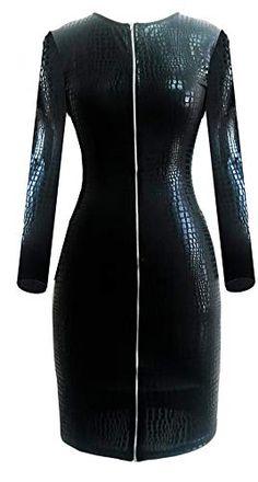 4a2985385539c5 MNLXL Snake-Like Kunstleder Skinny Kleid Mit Reißverschluss Nachtclub  Langärmeliges Kleid (Schwarz)BlackXXL