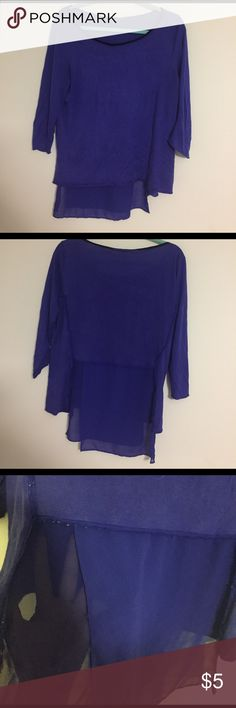 Elie Tahari cobalt blue Blouse size M So I am going to try and describe this as much as possible. This top was made really really really weird. Elie Tahari made the back with a chiffon fabric and there ditching on it is weird. There's freys/ fabric showing on it. At the time I liked the color and I didn't mind the look but now it makes me feel like I made this top myself. Price low because I do not like it anymore but it is a cute low high too.  If you have any question about the piece then…