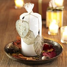 Pillar Candle with Ornaments - New in November 2012 from Wisteria on shop.CatalogSpree.com, my personal digital mall.