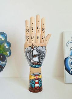 4a759868c9  Made to order wooden hand  Handpainted with high quality acrylics  Tattoo  traditional style