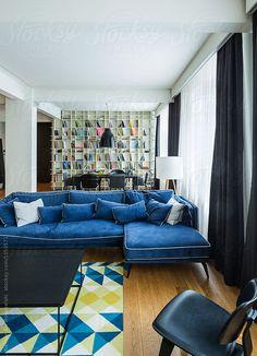 Modern luxurious living room by Aleksandar Novoselski - Design, Interior - Stocksy United Blue Couches, Big Houses, Home Decor Trends, Interior Decorating, Decorating Ideas, Bookshelves, Sweet Home, Living Room, Luxury