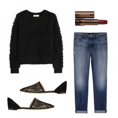 Textured Knit Sweater, MICHAEL Michael Kors $150 Velvet Crème Lipstick in Icon, Hourglass $30 9044 Jake, J Brand $220 Lace and Suede Point-Toe Flats, Gianvito Rossi $580