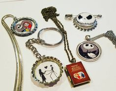 "We love Nightmare before Christmas! This is a #timburton package I'm putting together for one of my Twi-sisters. It's for a Twilight exchange group that someone recommended to me after being on the Twilight Moms group for years. I wanted to share the cuteness with you all!!  Jack Skellington pin Jack circle pendant necklace Handbook for the recently deceased (Beetlejuice) locket Jack and Sally keychain double sided other side says ""together forever"" and a jack and Sally metal bookmark."