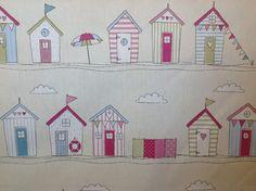 Fryetts pink beach huts cotton curtain fabric by holmfirthfabric