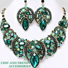 """""""ULTIMATE QUALITY"""" GREEN  LARGE CHUNKY FORMAL WEDDING CRYSTAL Necklace Set*Chic"""