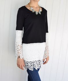 Look at this éloges Black & Ivory Lace-Overlay Tunic on #zulily today!
