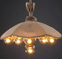 (145.26$)  Buy here  - Loft style linen cloth,rope 6 Heads Umbrella  Vintage industrial pendant lighting lamp fixture Dining Room/Restaurant