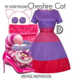 Cheshire Cat by leslieakay on Polyvore featuring polyvore, fashion, style, Dolce&Gabbana, Kate Spade, vintage, clothing, disney, disneybound and disneycharacter