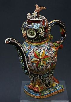 Antique Swiss Thoune Pottery Owl Teapot Signed. I found this just fascinatingly awesome and I'm Not Sure Why!