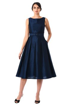 I <3 this Dupioni belted fit-and-flare dress from eShakti