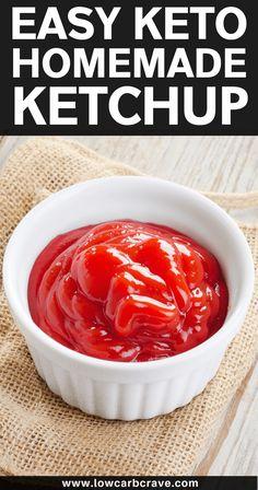 Sugar Free Ketchup Recipe, Homemade Ketchup Recipes, Low Carb Ketchup, Sugar Free Recipes, Low Carb Recipes, Tomato Ketchup Recipe, Sugar Free Tomato Sauce, Low Carb Tomato Sauce Recipe, Low Carb Salsa Recipe