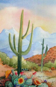 """Saguaro Desert """"Among Friends I"""", watercolor painting on 300 lb paper, x This painting has three companions for a total of four pieces. Cactus Painting, Watercolor Cactus, Cactus Art, Watercolor Landscape, Watercolor Paintings, Watercolors, Painting Inspiration, Art Inspo, Southwestern Art"""