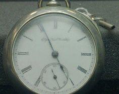 Antiguo de 1800 Elgin cara Pocket Watch Dueber Silverine clave viento