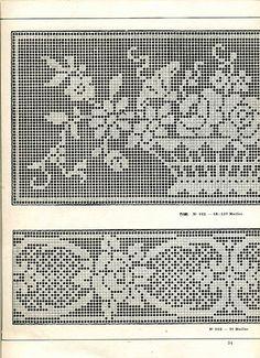 """Photo from album """"Edouard Boucherit - Grand album de modeles pour Filet on Yandex. Fair Isle Knitting Patterns, Crochet Patterns, Filet Crochet, Crochet Lace, Crochet Curtains, Crochet Decoration, Mittens Pattern, Filets, Album"""