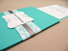 Pocketfold Wedding Invitation Suite, Tiffany Blue - Sample by JutingDesignStudio on Etsy Tiffany Blue Invitations, Black Wedding Invitations, Wedding Invitation Wording, Wedding Stationery, Invites, Bleu Tiffany, Azul Tiffany, Wedding Paper, Diy Wedding
