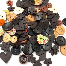 10/50/100pcs Mix Wood Buttons Flowers DIY Craft Scrapbook Sewing Appliques W487(China)