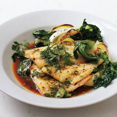 Seafood: Oven-Roasted Flounder with Bok Choy, Cilantro, and Lime