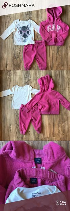 Gap fleece hoodie set 12-18 months. Super cute Gap fleece set with long sleeve shirt. EUC. The hoodie has sparkly stitching on the letters and the shirt also has sparkly detail. 💗 GAP Matching Sets