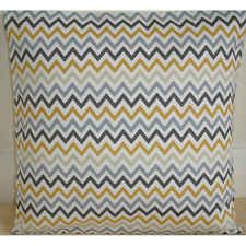 "NEW 16"" Cushion Cover ★ Retro Grey Charcoal and Saffron Mustard Zig Zag Chevrons"